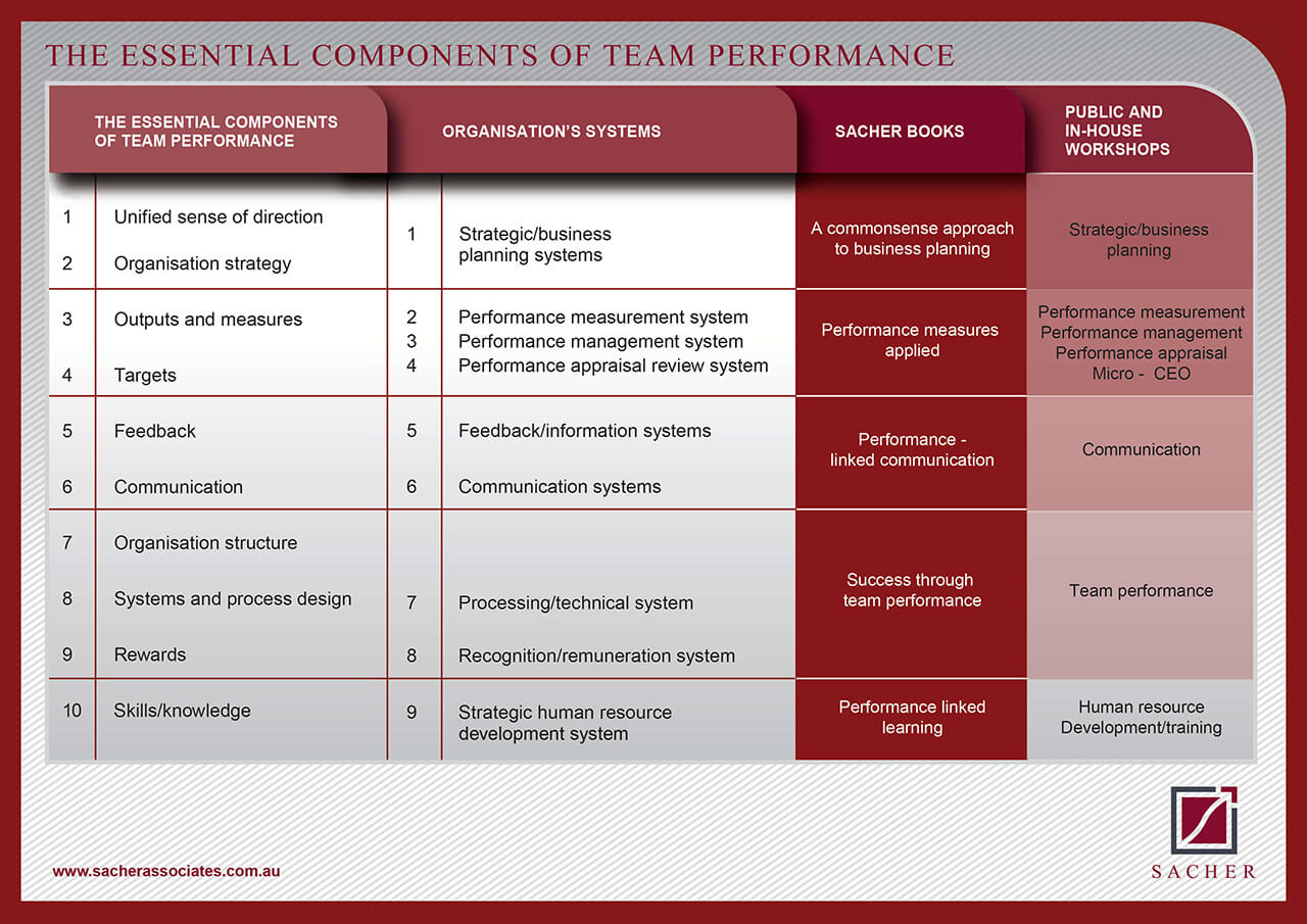 sacher essential components of team performance table